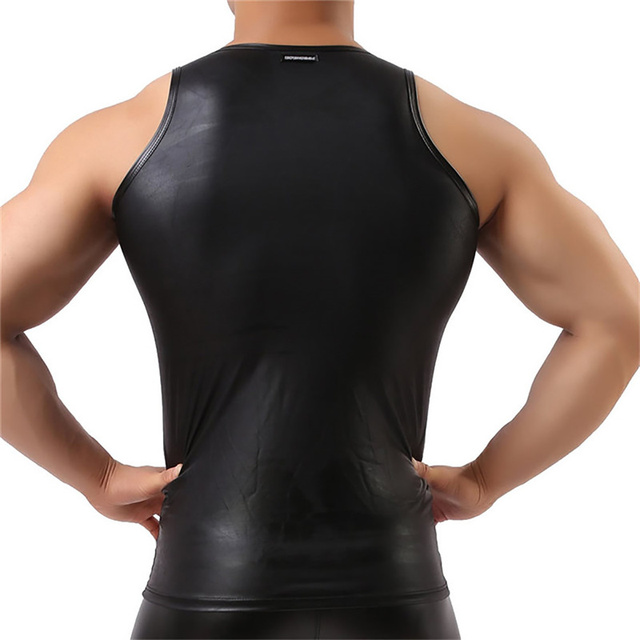 3XL seksowna męska koszulka na ramiączkach topy bez rękawów PU skórzane podkoszulki koszulki Clubwear Streetwear lateksowa bielizna Gay t-shirty Plus rozmiar