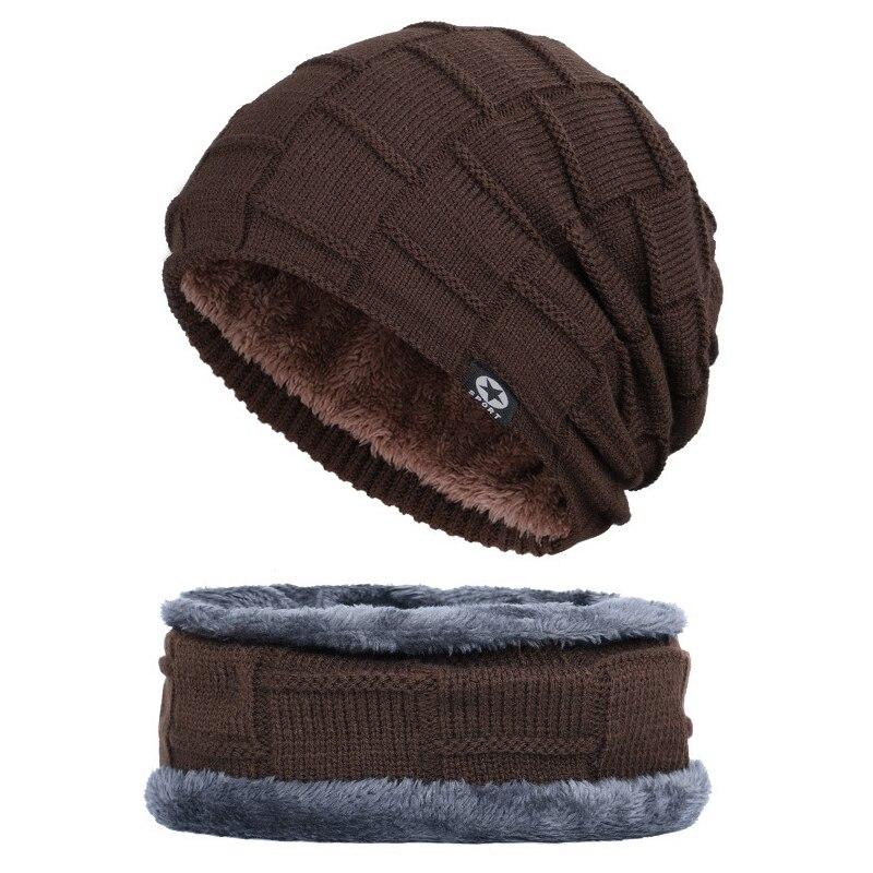 Men Women Winter Warm Knitted Hat Balaclavas Baggy Beanie Skull Cap Scarf Set