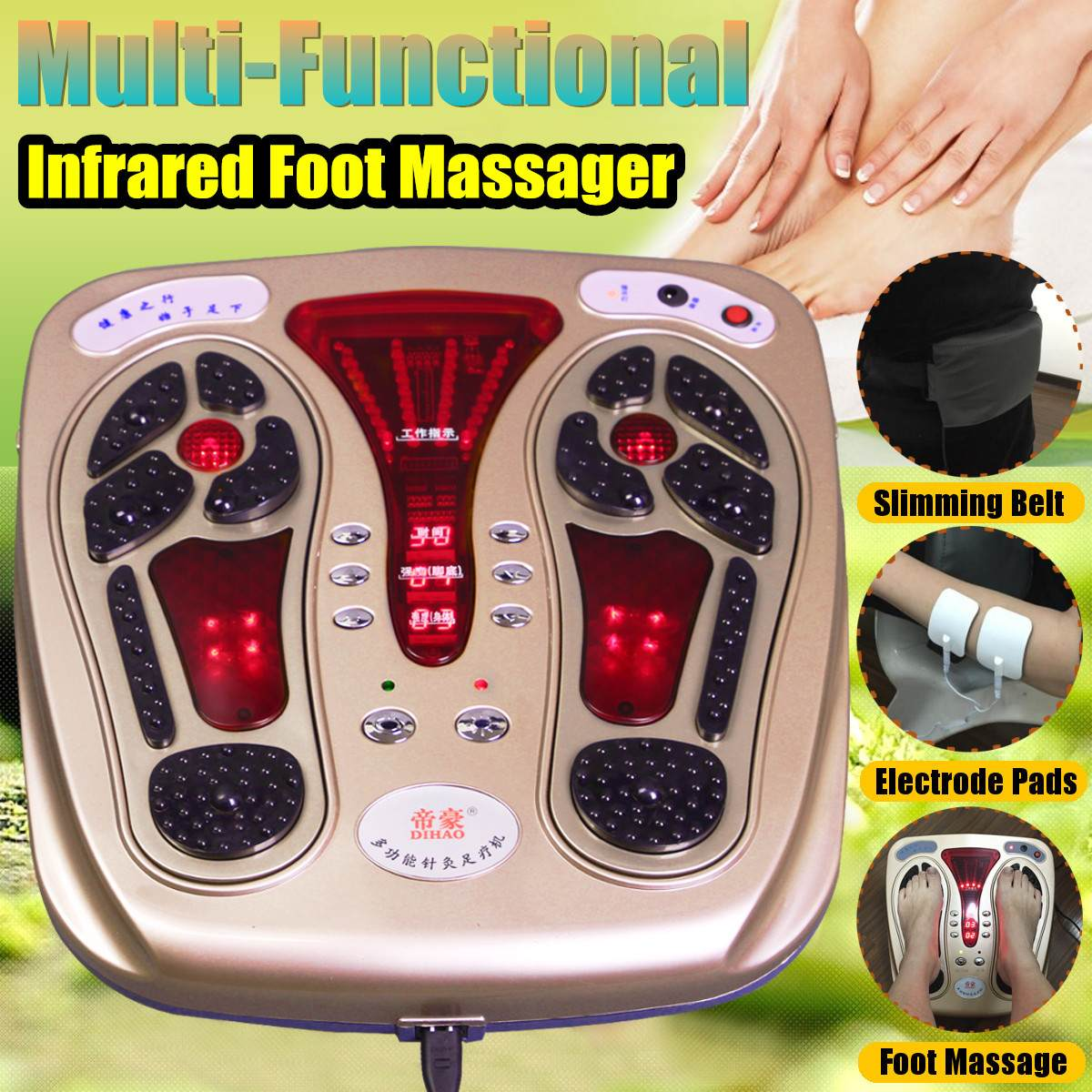 Foot Massager Machine - Electric Massage Therapy Relax Treatment Device for Calf Leg Blood Circulation and Plantar Fasciitis