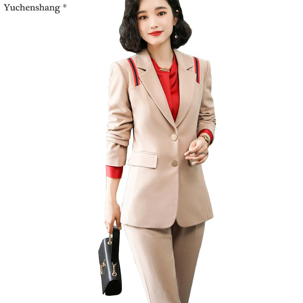 Fashion 2019 New Business Career Work Apricot Black Pant Suits Single Breaste Blazers Jackets Coat And Pant Two Piece Suit Sets
