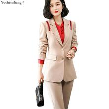Fashion 2019 New Business Career Work Apricot Black Pant Suits Single Breaste Bl