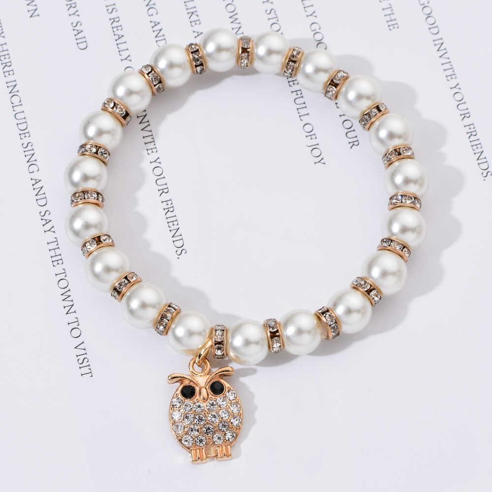 女性真珠邪眼ファティマの手弾性ブレスレットチャームクリスタルハートフクロウ生活の木ビーズブレスレットジュエリーギフト