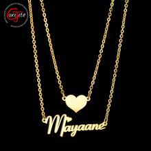 Goxijite Fashion Double Layer Name Necklace For Women Custom Jewelry Personalized Heart Name Pendant Necklace Lover Gift