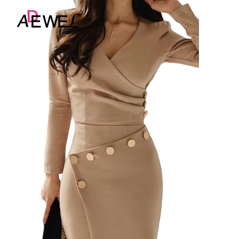 ADEWEL Button Detail White Ruched Bodycon Office Work Dress Women Long Sleeve V-Neck Party Midi Gown Dress 18