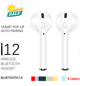 TWS i12 inpods 12 Wireless Bluetooth Earphones i12 Tws Matte Touch Bass Stereo Headsets Sport Earphone