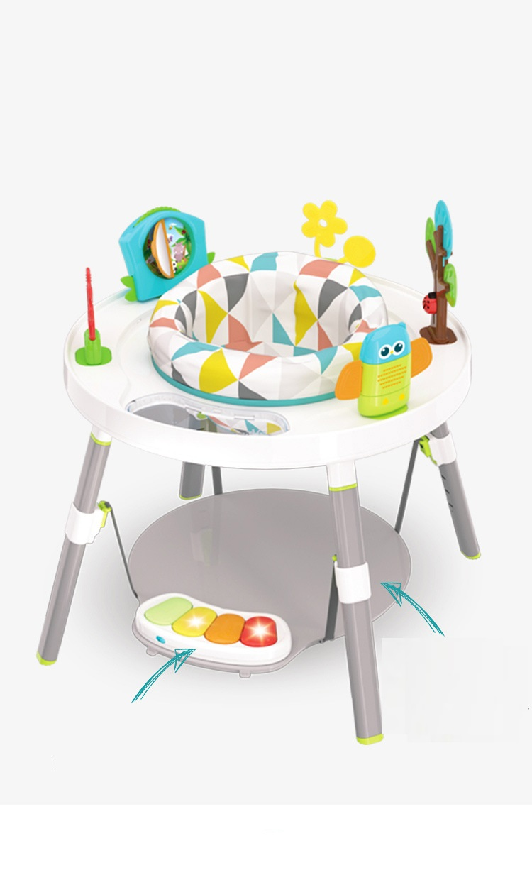 Baby Happy Jump Chair Baby Multi-functional Jump Fitness Stand Three-stage Fitness Piano Activity Table Educational Toys Safety