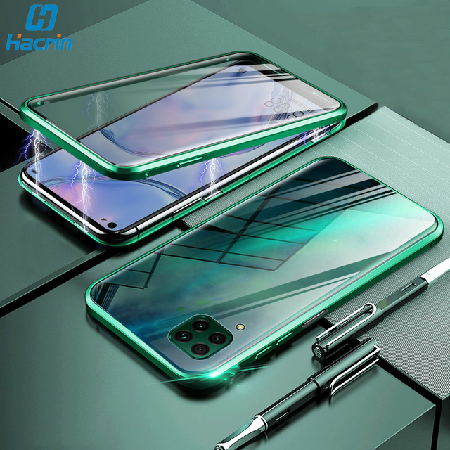 Hacrin Case For Huawei P40 Lite Case Magnetic Adsorption Metal Tempered Glass Bumper Case For Huawei P40 P 40 Lite Case Cover