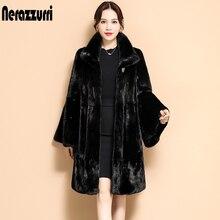 Nerazzurri Winter black pleated faux fur coat long flare sleeve stand collar Skirted soft fluffy jacket Korean Fashion 2021