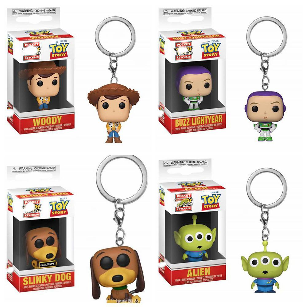 POP Toy Story 4 Slinky Dog Buzz Lightyear <font><b>Alien</b></font> Woody Keychain Action Figure Collection Model Toys for Children Gift with box image