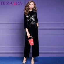 TESSCARA Women Autumn Winter Elegant Embroidery Pant Suit Se