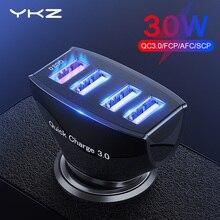 Автомобильное зарядное устройство YKZ Quick Charge QC 3,0, автомобильное зарядное устройство, 4 порта, быстрое автомобильное зарядное устройство для телефона, автомобильное зарядное устройство USB для Samsung Xiaomi iPhone