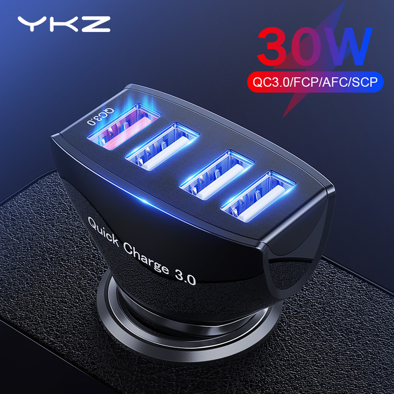 YKZ Car Charger Quick Charge QC 3.0 Car-Charger 4 Ports Fast Car phone Charger Phone Car USB Charger for Samsung Xiaomi iPhone