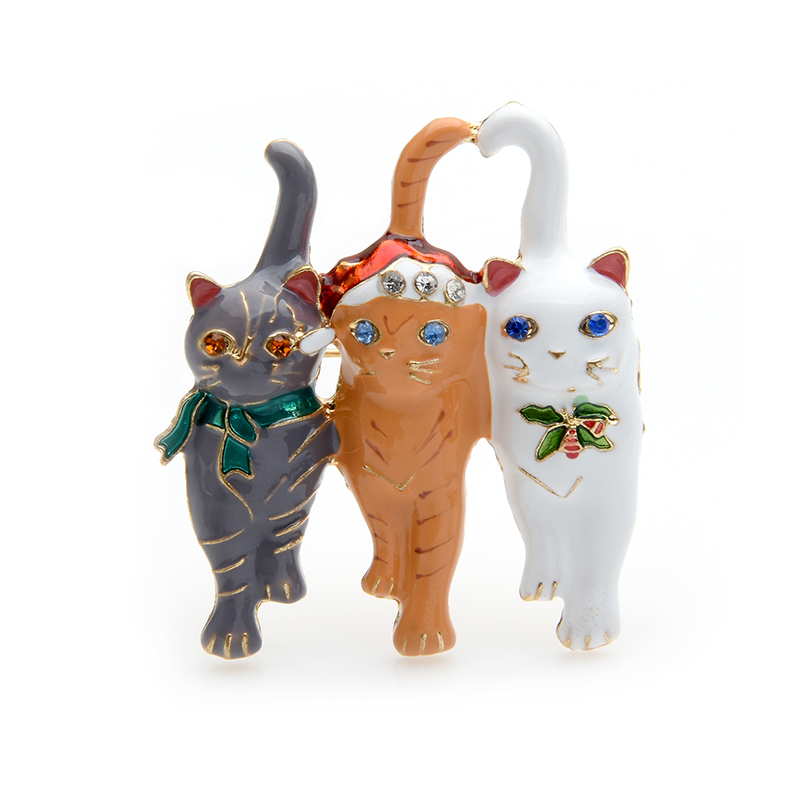 Three Cats Christmas Enamel Brooch
