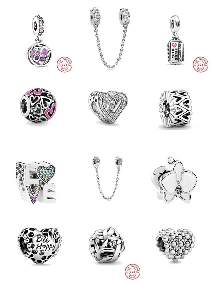 Ajustement Original Pandora breloques couleur argent Bracelet infini coeurs étoiles amour Couple perle bijoux à bricoler soi-même faire Berloque qualité supérieure