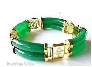 >>>> Jade verde genuíno aa pulseira 2 fileira 18k ouro amarelo 7.5 polegadas pulseiras