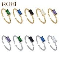ROXI-Anillo de boda de Plata de Ley 925 con piedra rectangular para mujer, sortija ajustable, varios colores