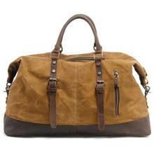 Vintage Canvas Leather Men'S Travel Bag Carry-On Ba