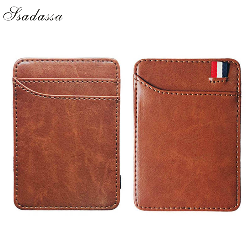 New Fashion Slim Men's Leather Magic Wallet Korea Designer Credit Card Holder Women Small Cash Clip Bilfold Man Clamps For Money