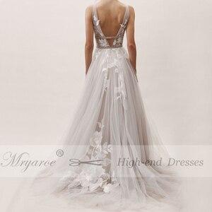 Image 5 - Mryarce vestido de novia gris con apliques florales de encaje, cuello en V, elegante, plateado, espalda descubierta