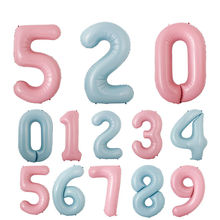 40 inch Macaron Pink Blue Number Foil Balloons