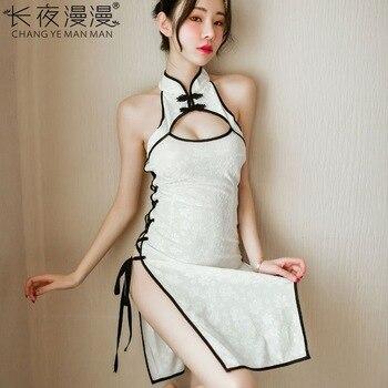 Sexy Lencería sense bandage tentación ropa REPÚBLICA DE Estilo de China lado slit hollow cheongsam