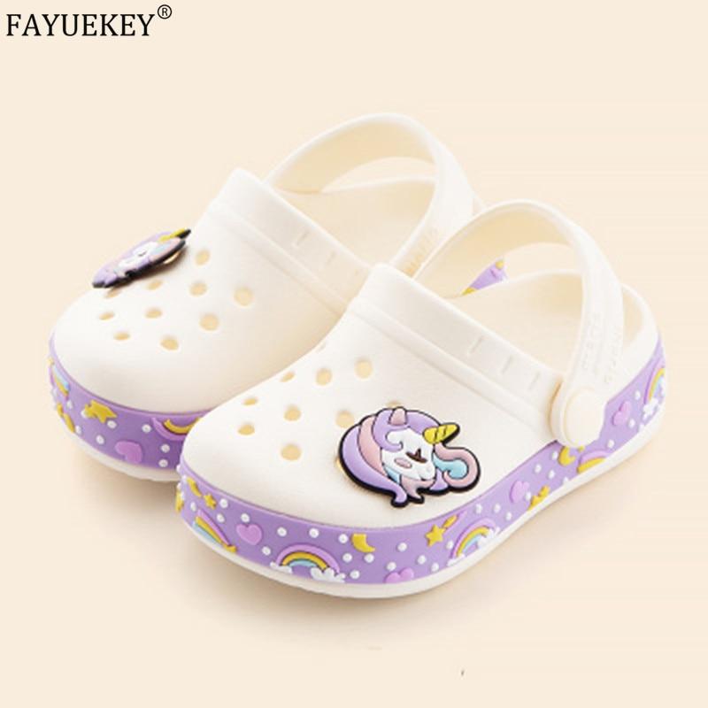Cartoon Unicorn Kids Slippers Garden Flat Children Toddler Sandals Clogs Shoes Summer Outdoor Boy Girls Baby Beach Shoes Cute