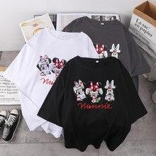 2021Disney Minnie Maus Freunde Print T Shirt Sommer Frauen Kurzarm Freizeit Top T-stück Beiläufige Damen Weibliche T shirts