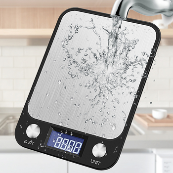 Кухонные весы из нержавеющей стали с ЖК-дисплеем, 5-10 кг/1 г, 0,1 г