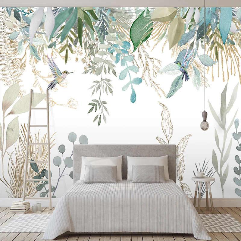 صور خلفيات الحديثة رسمت باليد أوراق نباتية استوائية الزهور والطيور الجداريات غرفة المعيشة غرفة نوم طلاء جدران مقاومة للماء