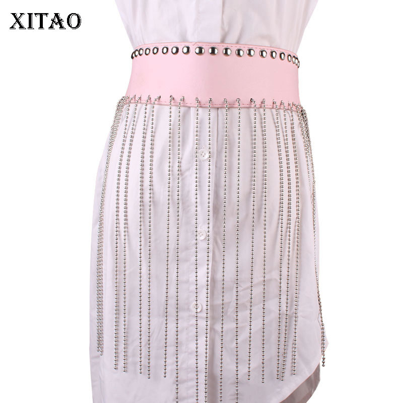 XITAO Sequin Tassel Cummerbunds Fashion New 2020 Spring Small Fresh Patchwork Goddess Fan Casual Style Cummerbunds DMY3922