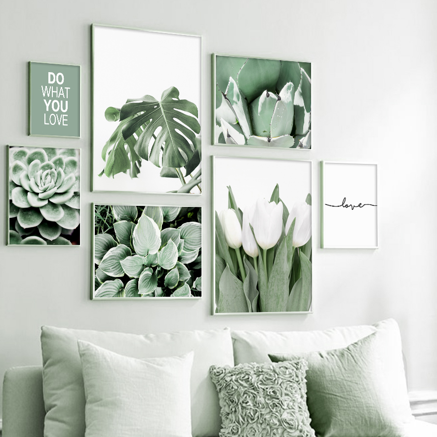 Succulents Monstera White Tulip Plant Wall Art Canvas Painting Nordic Posters And Prints Wall Pictures For Living Room Decor