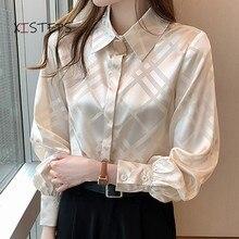 Элегантные женские атласные блузки, рубашки, дизайнерские женские шифоновые рубашки, новинка 2021, женские топы, модная Офисная Женская одежд...
