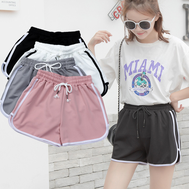 Fashion Summer Casual Shorts Woman Stretch Elastic Waist Booty Shorts Female Black White Loose Beach Sexy Shorts S-XXL 2