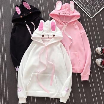 цена на Pullover Cute Sweatshirt Rabbit Ear Hoodie 3xl Poleron Mujer 2020 Kangaroo Pocket Hoodie With Ribbon Solid Color Hoodie Women