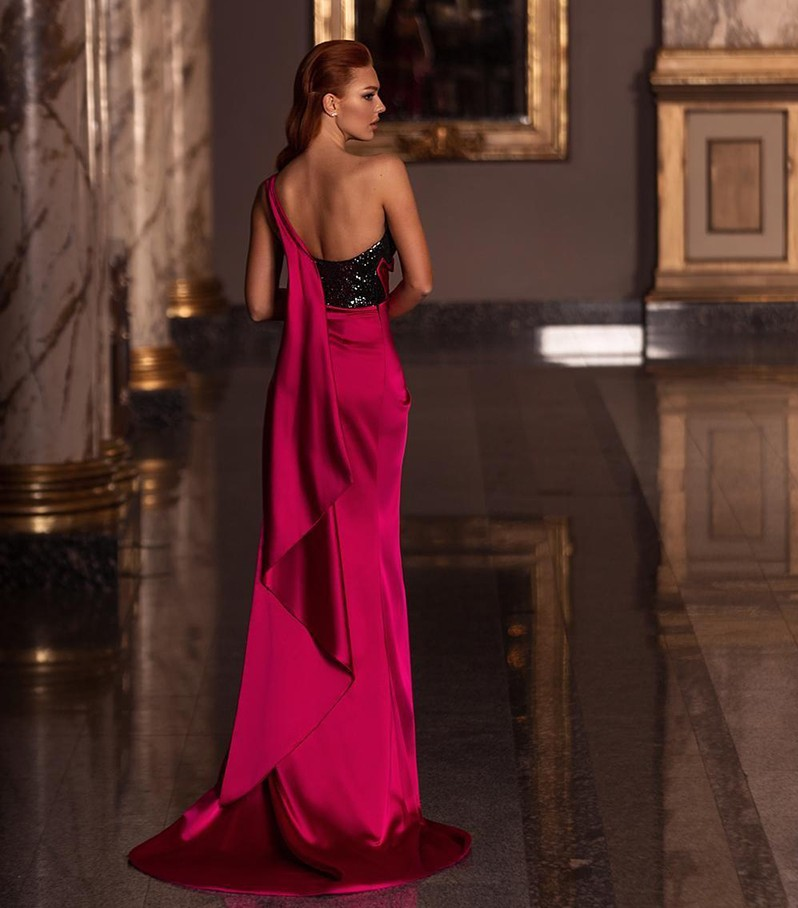 Robe De Soiree 2020 One Shoulder Rose Red Evening Dresses Sexy Side Split Long Sequin Prom Gowns Party Pageant Dress Ht Sale