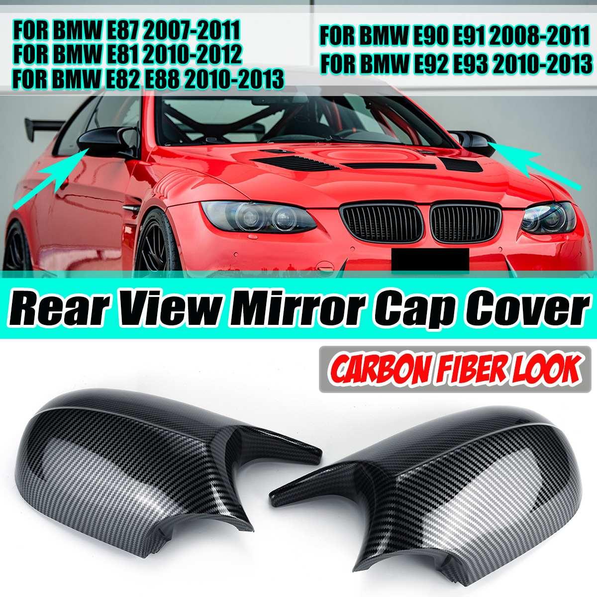 1 par e81 e82 tampas espelho retrovisor do lado do carro tampa capa guarnição para bmw e81 e82 e87 e88 e91 e92 e93 lci facelifted modelo