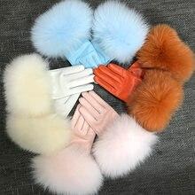 Настоящая овчина лиса меховые перчатки женская подлинная кожаная