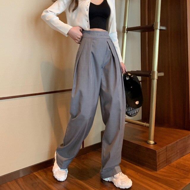 Novedad De 2020ba Pantalones Anchos Ajustados De Mujer Pantalones Anchos Pantalones Tobilleros Para Mujer Pantalones De Gasa Informales De Cintura Elastica De Talla Grande Pantalones Y Pantalones Capri Aliexpress