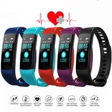 블루투스 스마트 팔찌 컬러 스크린 Y5 C 스마트 밴드 심박수 모니터 혈압 측정 피트니스 트래커 스마트