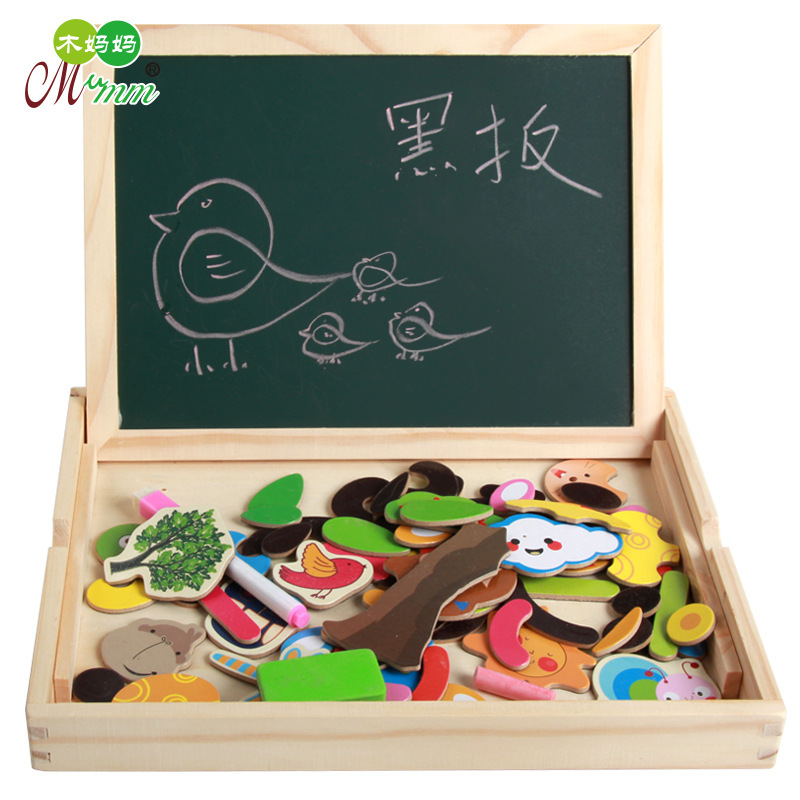 Wood Mom Children'S Educational Early Childhood Toy Multi Purpose Jigsaw Puzzle Double-Sided Sketchpad Educational Joypin Fun Dr