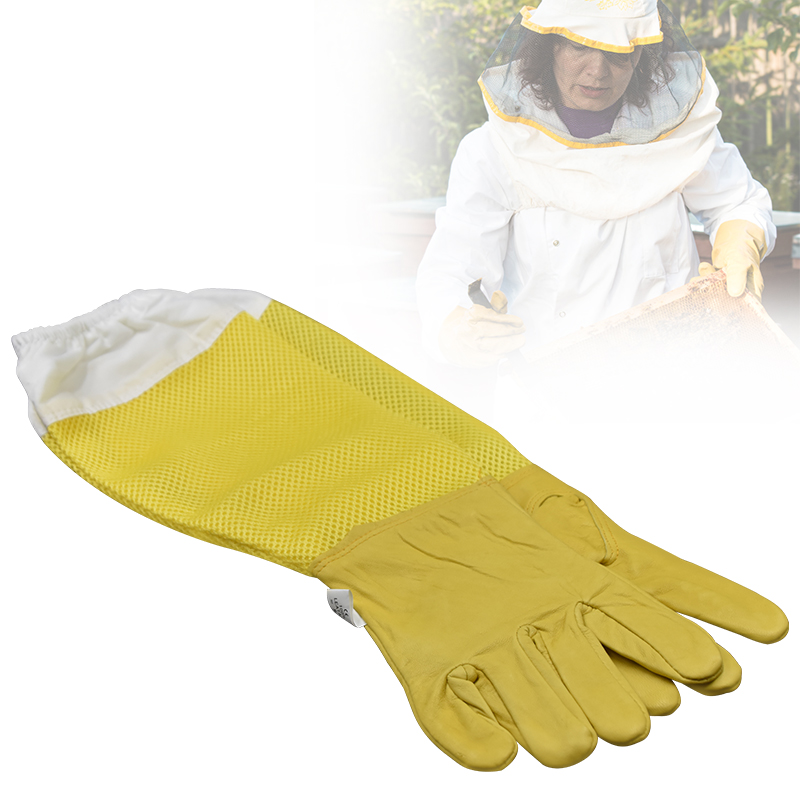 Beekeeper Prevent Gloves Protective Sleeves Ventilated Professional Anti Bee For Apiculture Beekeeper Beehive Yellow Mesh