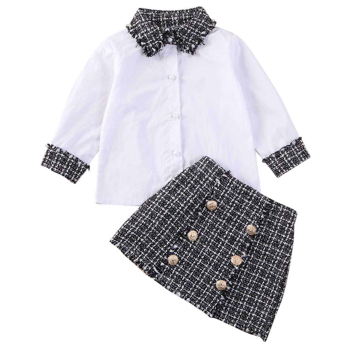 2020 Princess Infant Baby Girls Clothes Sets 1-6Y Plaid Print Long Sleeve Shirts Tops+Mini A-Line Skirts Autumn Outfits