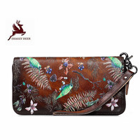 Thicken Floral Printing Retro Europe Style Women Long Wallet Quality Casual First Layer Leather Purses