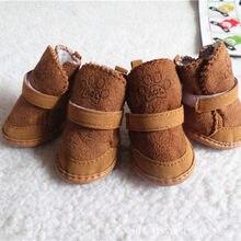Pembe kahve sıcak Pet köpek ayakkabı kış kaymaz köpek kar botları sevimli Chihuahua Yorkies sıcak polar yavru köpek ayakkabıları evcil hayvan ürünleri