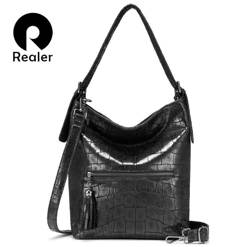 Realer Handbags Women Fashion Shoulder Bags High Quality For Ladies Hobos Big Capacity Tote Bags Female Luxury Women Bag 2019