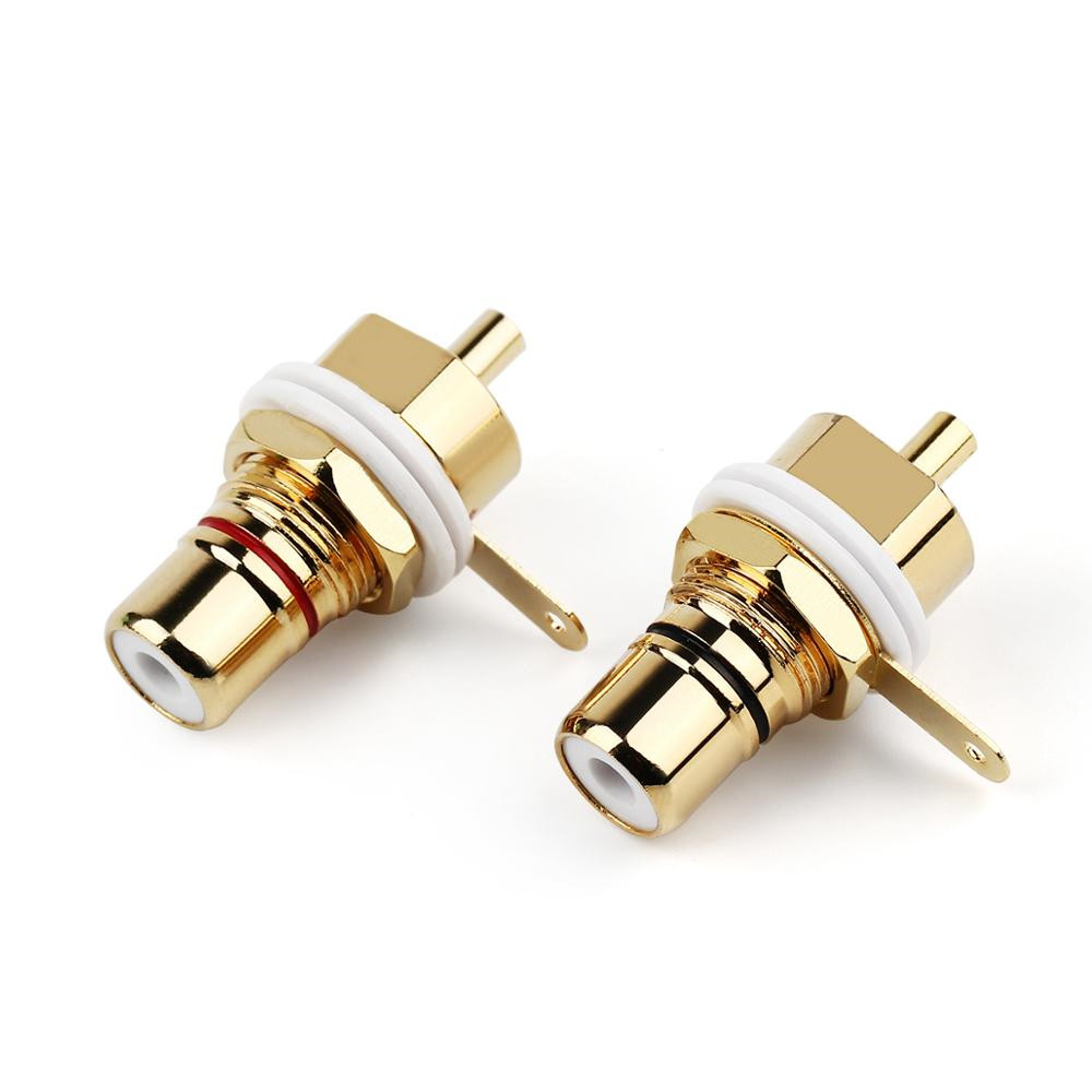 20PCS RCA Female Audio Connector RCA Socket Chassis CMC Adapter 32mm Plug AMP Audio Jack Bulkhead Cycle Nut Solder Cup