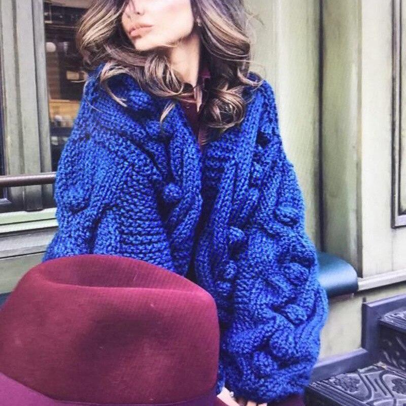 2019 femmes cachemire Cardigan bleu latérn manches tricoté à la main chandail femmes décontracté femme Cardigan Long tricot pull femmes