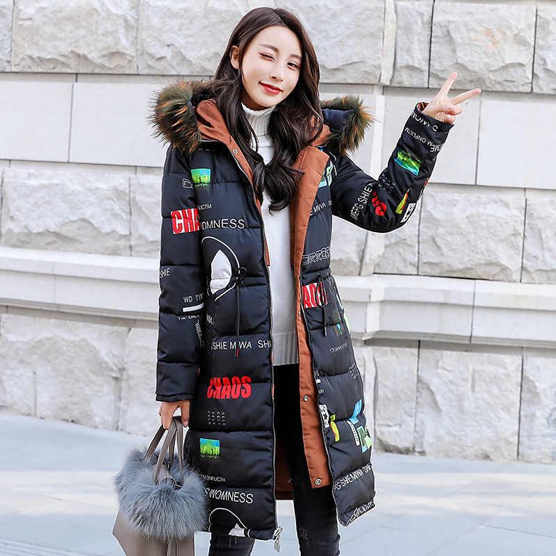 Double-Sided Memakai Parka Jaket Musim Dingin Wanita Berkerudung Besar Bulu Kerah Korea Panjang Mantel Wanita Parka Jaqueta Feminina KJ641