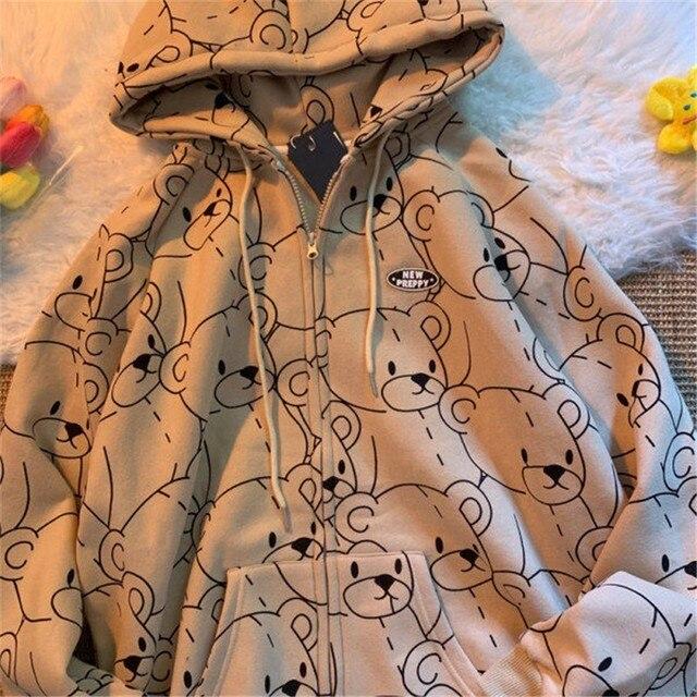 Summer 2021 Fashion Zip Up Cute Bear Sweetshirt Vintage Long Sleeve Spring Clothes Women Hoodies Coat Loose Harajuku Tops 1