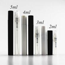 Botella pulverizadora de plástico pequeño, atomizador de niebla Blanco/Negro/transparente, prueba de muestra, atomizador de Perfume, 2ml, 3ml, 4ml, 5ml, 10 unids/lote
